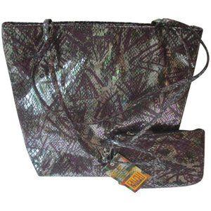 *Carlos Falchi Purple Metallic with Cosmetic Bag